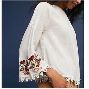 Anthropologie Embroidered White Blouse